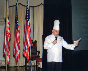 Chef Roland addresses a captive audience
